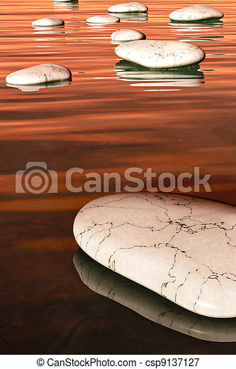 pierres, étape, coucher soleil - csp9137127