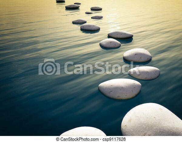 pierres, étape, coucher soleil - csp9117628