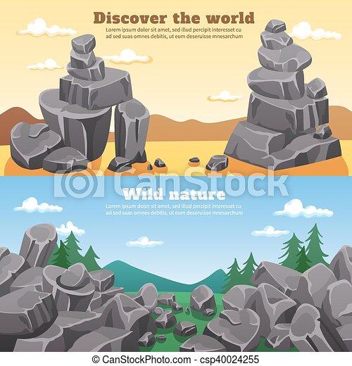 pierres, bannières horizontales, rochers - csp40024255