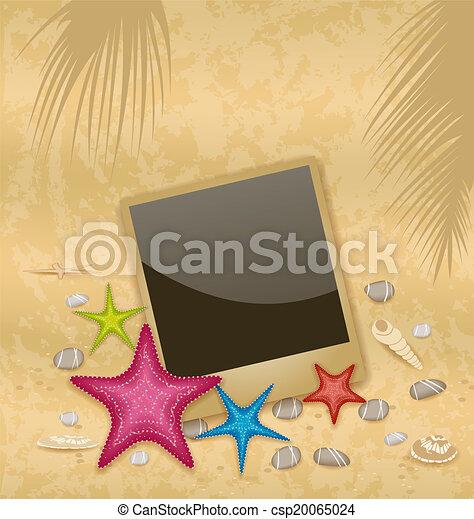 pierres, cadre, vendange, -, illustration, vecteur, fond, photo, seashells, caillou, starfishes - csp20065024