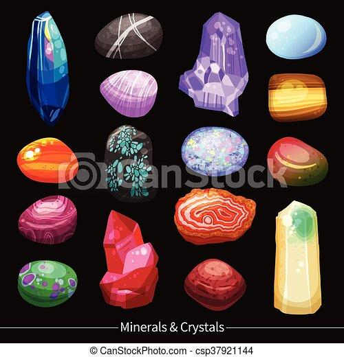 pierres, cristaux, ensemble, fond, rochers - csp37921144