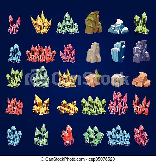 pierres, ensemble, dessin animé, minéral - csp35078520