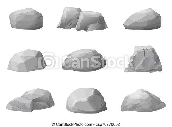 pierres, ensemble, galets, rochers - csp70770652