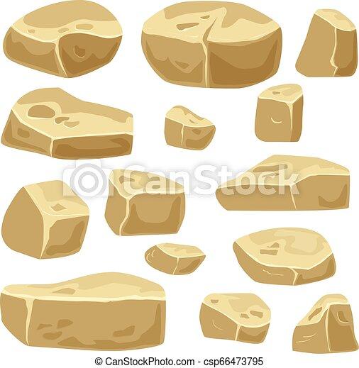 pierres, ensemble, isolé, rochers, jeu, désert, art. - csp66473795