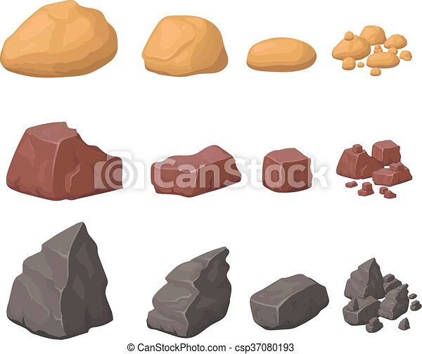 pierres, ensemble, rochers, divers, appelé, rochers, dessin animé, minéraux - csp37080193