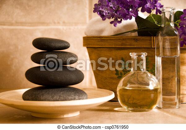 pierres, huile - csp0761950