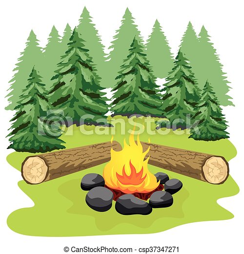 pierres journaux bord bois clairi re feu camp for t illustration vecteurs rechercher des. Black Bedroom Furniture Sets. Home Design Ideas