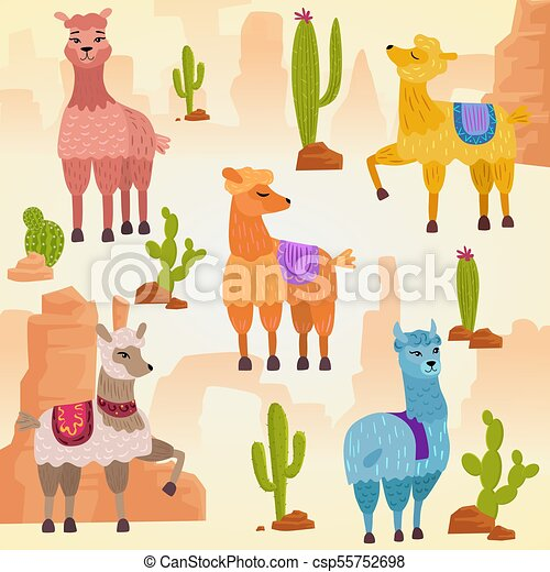 pierres, mignon, ensemble, alpaga, illustration, lama, vecteur, rocks., cactus - csp55752698