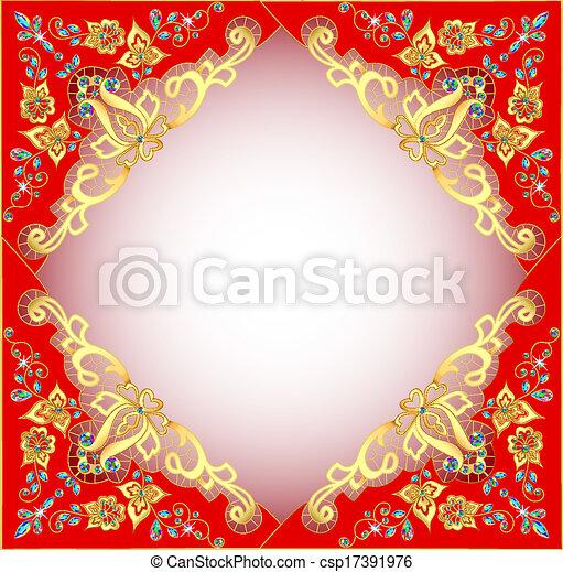 pierres, or, ornement, fond, précieux, rouges - csp17391976