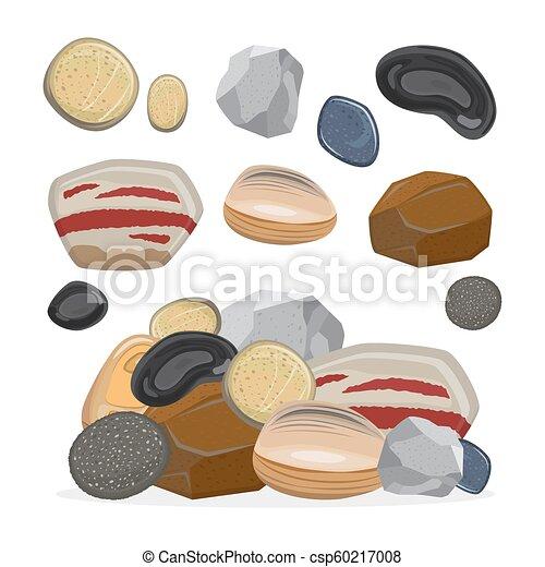 pierres, pierre, ensemble, illustration, vecteur, rocks., dessin animé - csp60217008