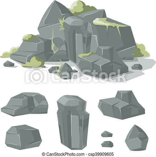 pierres, rocher, nature, rochers, vecteur, mousse, herbe, dessin animé - csp39909605