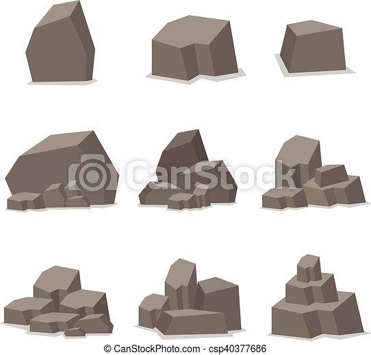 pierres, rochers, ensemble, vecteur, élément - csp40377686