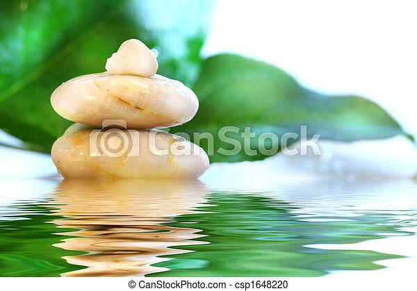 pierres, spa, feuilles - csp1648220