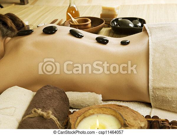 pierres, spa, woman., chaud, masage - csp11464057