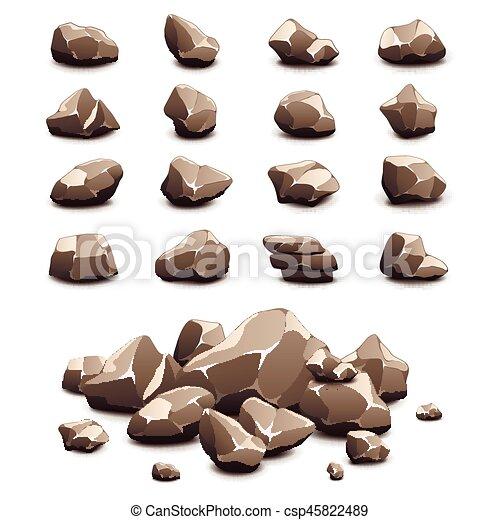 pierres, vecteur, ensemble, dessin animé, icônes - csp45822489
