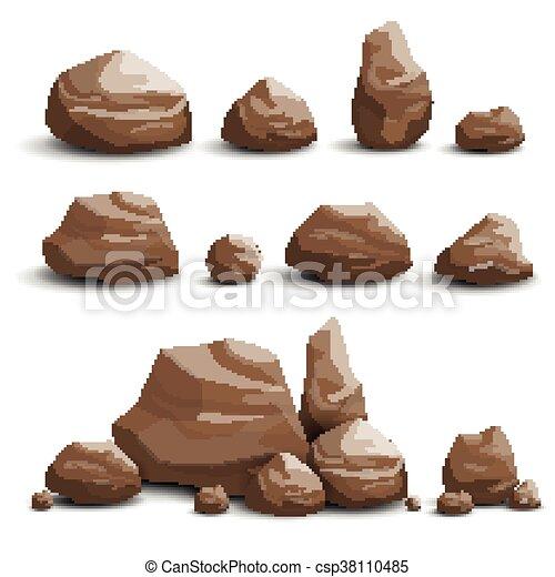 pierres, vecteur, rochers - csp38110485