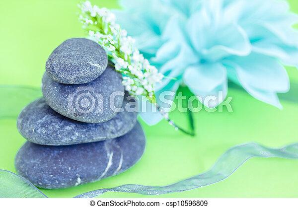 pierres, wellness/beauty, spa, fleurs, représenter, soin - csp10596809