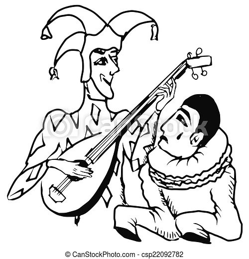 Pierrot, arlequin. Arlequin, griffonnage, illustration, main ...