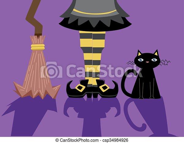 Los pies de bruja escoba sombras de gato - csp34984926