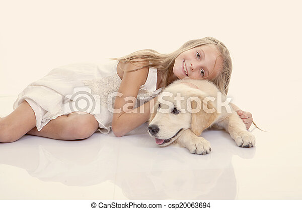 pieszczoch, dziewczyna, rodzina, tulenie, pies - csp20063694