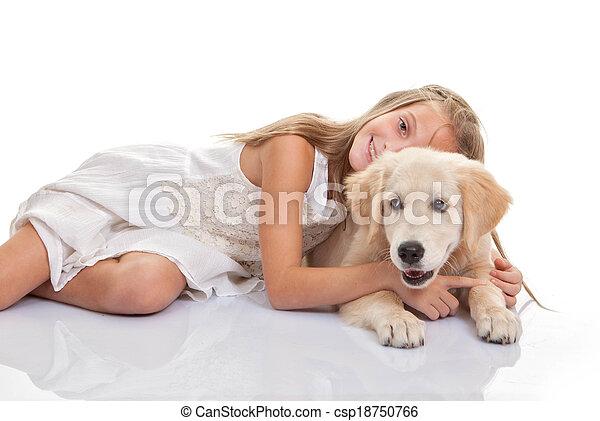pieszczoch, szczeniak, pies, tulenie, dziecko - csp18750766