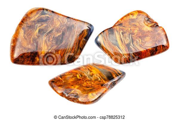 pietersite, set, isolato, gemstones, bianco - csp78825312