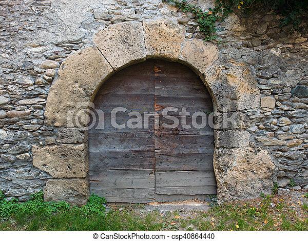 pietra, antico, porta, medievale, parete, arched - csp40864440
