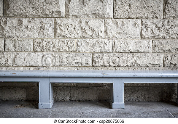 pietra blu, semplice, panca, parete, sabbia, legno, fronte - csp20875066