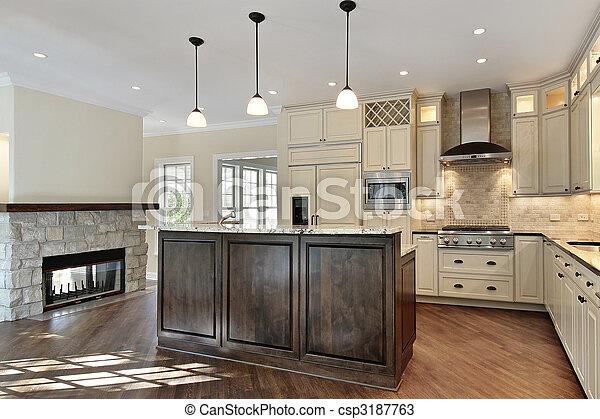 Pietra, caminetto, cucina. Pietra, costruzione, casa, nuovo,... foto ...