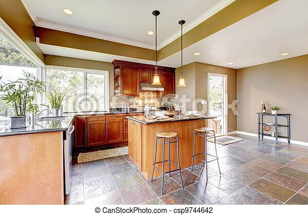 Pietra, floor., pareti, verde, lusso, interno, cucina.... foto d ...