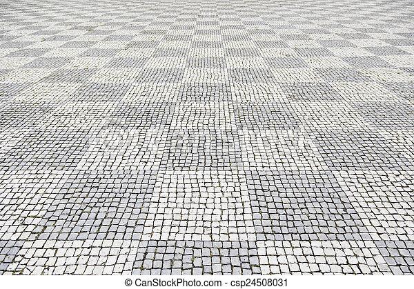 pietra, lisbona, tipico, pavimento - csp24508031
