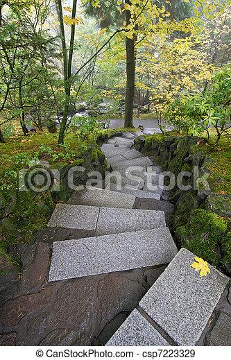 Pietra passi giardino giapponese giardino pietra stagione giapponese passi cadere scale - Scale in giardino ...