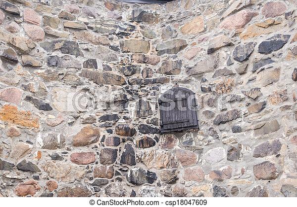 pietra, porta, parete, campo, fondo, vecchio, legno - csp18047609