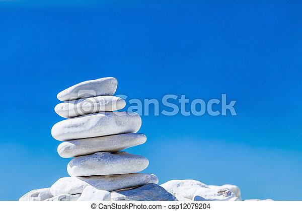 pietre, ciottoli, sopra, blu, equilibrio, catasta mare, croatia. - csp12079204