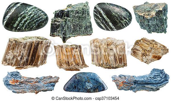 pietre, set, minerale, amianto, isolato, vario - csp37103454