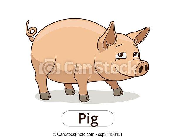 Pig animal cartoon illustration for children - csp31153451