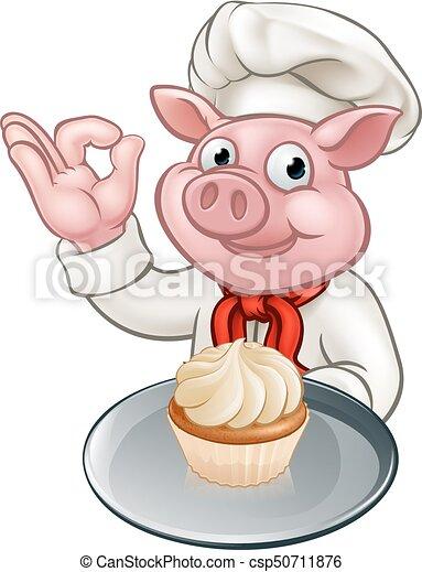 Pig Baker Chef Cartoon Character Mascot - csp50711876