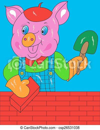 Pig builds a house. - csp26531038