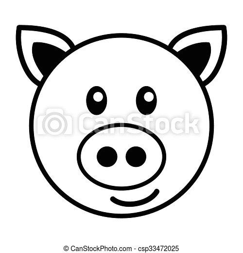 Pig Cartoon Simple Cartoon Of A Cute Pig