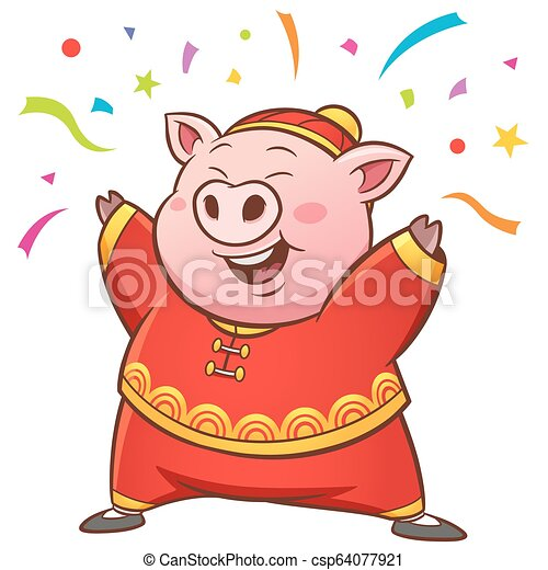 Pig cartoon - csp64077921