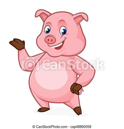 Pig cartoon presenting - csp48860058