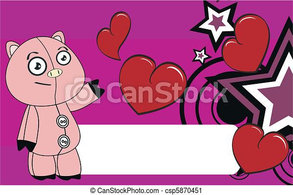 Pig Cartoon Valentine Background Vector