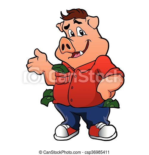 pig character with money - csp36985411