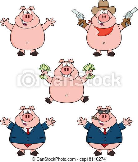 pig characters 1 collection set pig cartoon mascot characters 1
