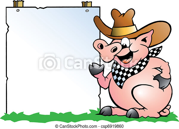Pig Chef in front of a sign - csp6919860