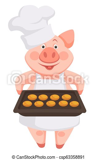 Pig chef wearing hat and apron, holding baking sheet - csp63358891