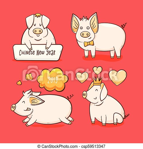 Pig Chinese New Year Symbol Of 2019 Vector Set