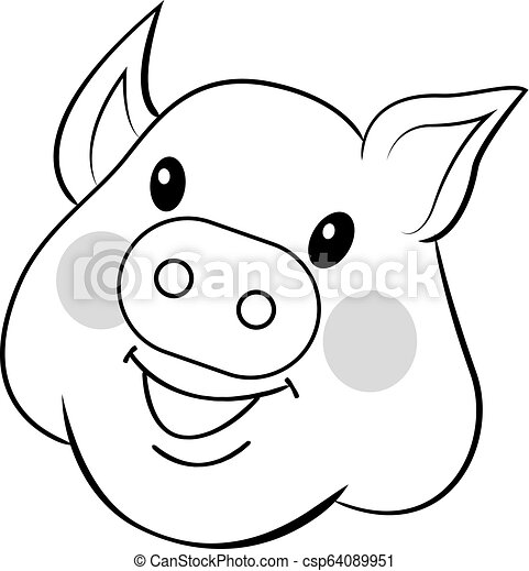 Pig drawn by hand. Sweet face pig. Outline drawing vector isolated on white background - csp64089951