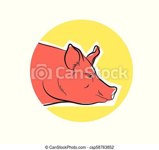 Pig Face Closeup Vector - csp58763852