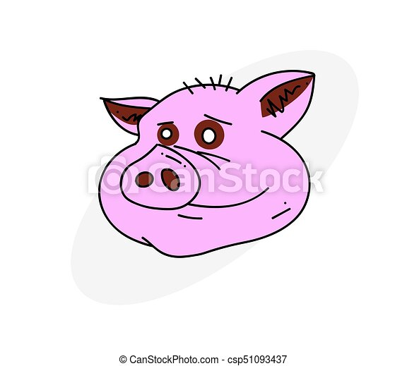 Pig Face Cartoon Hand Drawn Image Original Colorful Artwork Comic